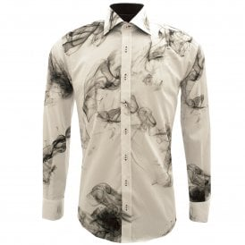 Black And White Smoke Pure Cotton Long Sleeve Men's Shirt