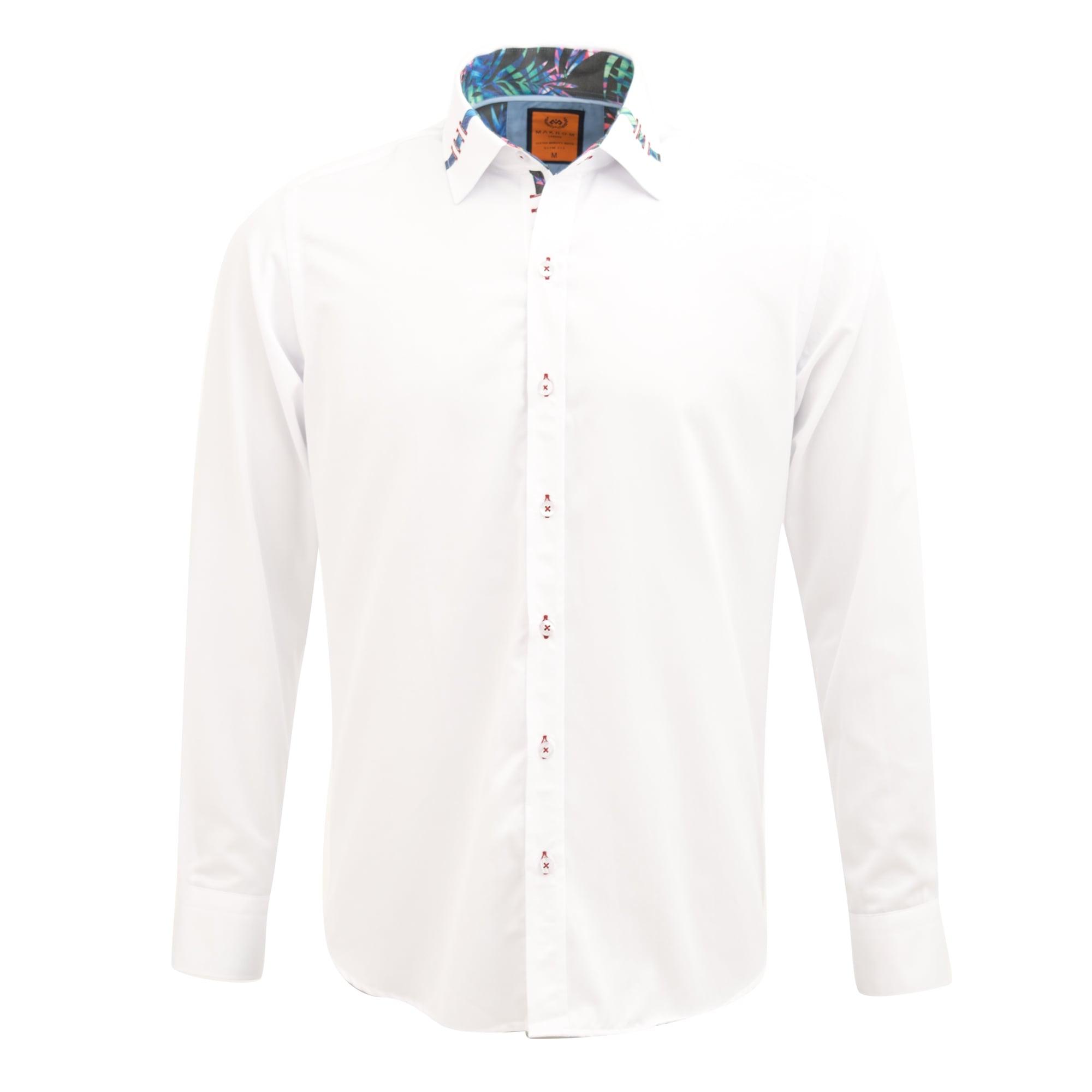 Oscar Banks Tropical Trim Collar Design Print Smart Casual Occasion Mens Shirt