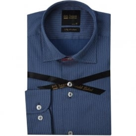 Blue Dotted Print Mens Shirt