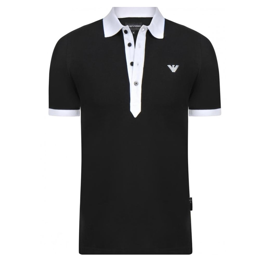 ad0487656d64 Eagle Emblem Black Mens Polo T-Shirt