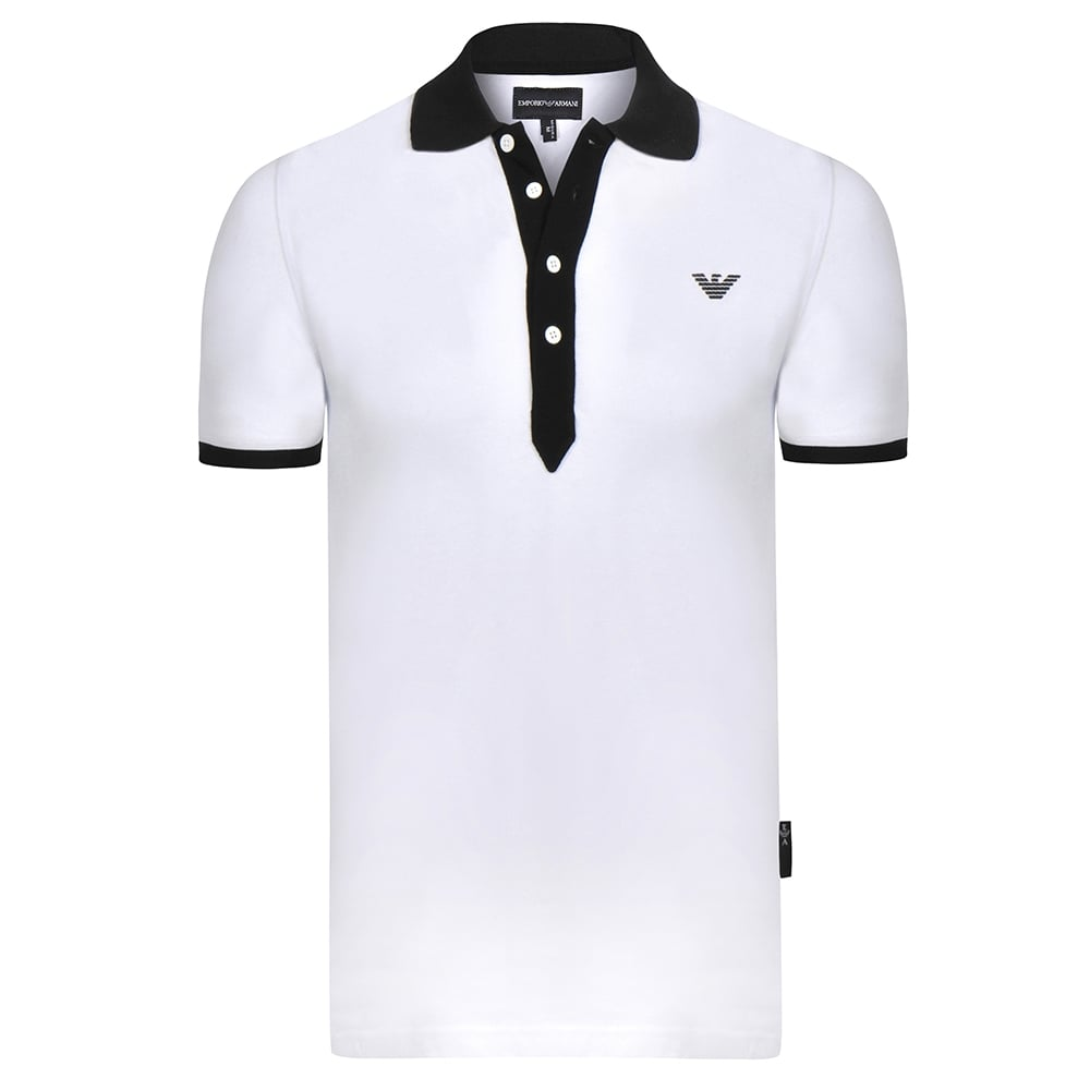 1a257d67f6f6 Eagle Emblem White Mens Polo T-Shirt