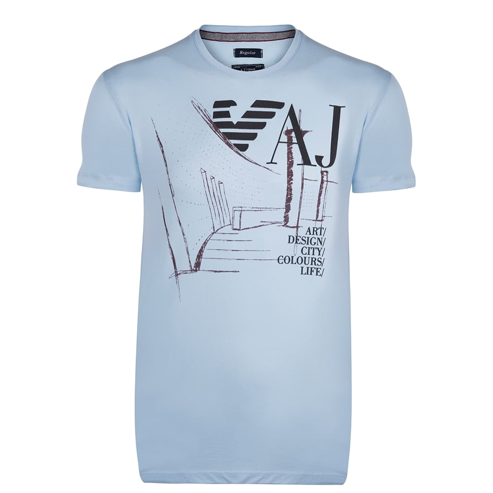 Armani jeans t shirts armani t shirts the shirt store Light blue t shirt mens