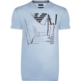 Light Blue Graphic Mens T-Shirt