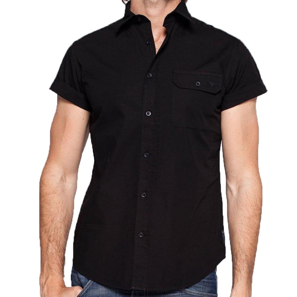 Armani jeans shirts armani short sleeved shirts the for Mens black short sleeve dress shirt