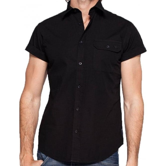 Armani Short Sleeve Black Mens Shirt