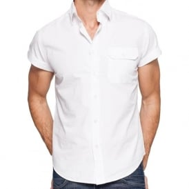 Short Sleeve White Mens Shirt