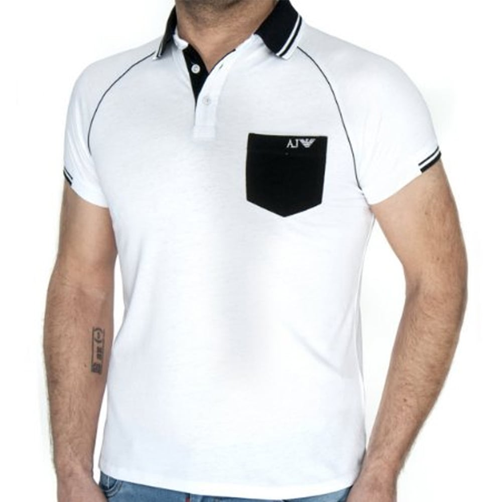 Black t shirt armani - White Mens Polo T Shirt