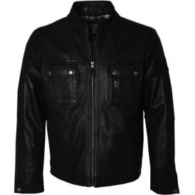 2040 Black Mens Leather Jacket