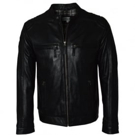 Black Leather Mens Biker Jacket