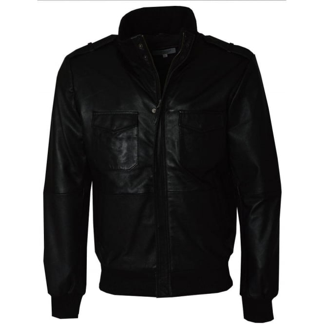 Ashwood Black Leather Mens Bomber Jacket