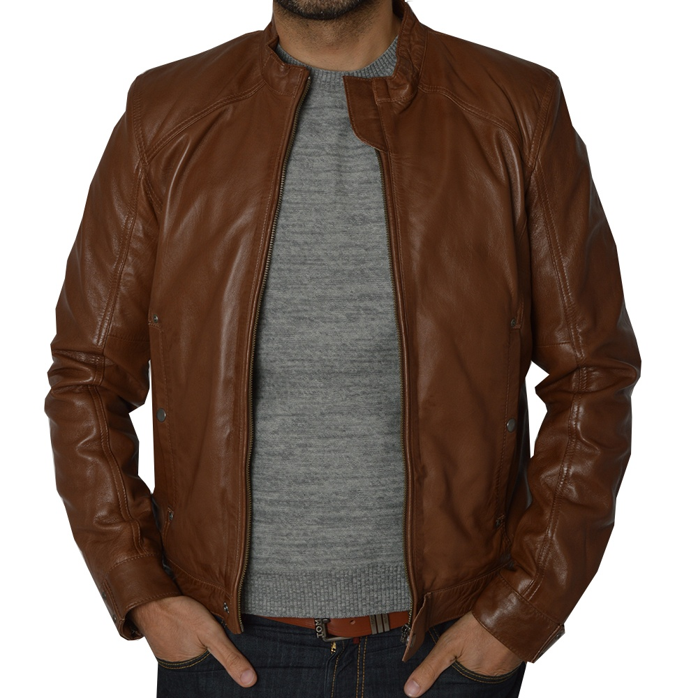 Mens Brown Leather Diesel Jacket by Ashwood | The Shirt Store