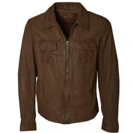JP Mens Camel Leather Jacket