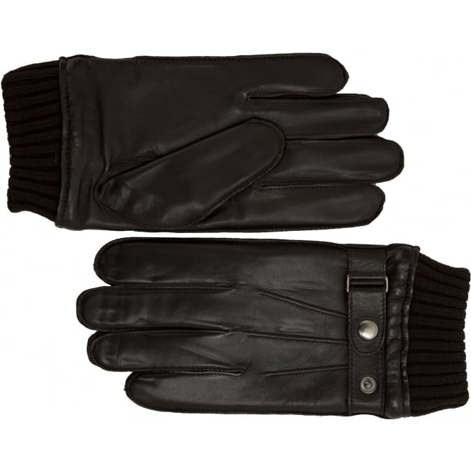 Ashwood Mens Ribbed Cuff Leather Gloves