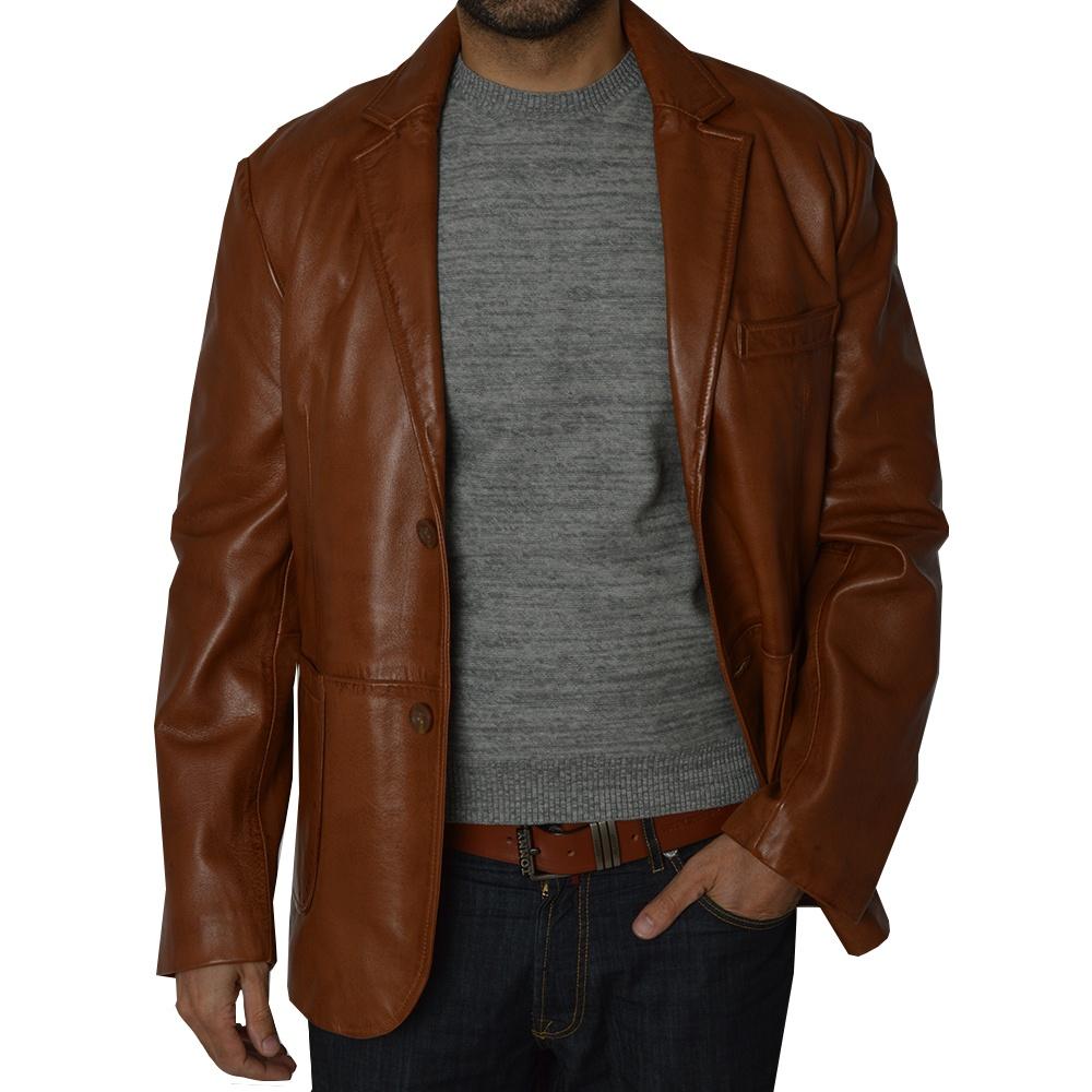 Leather jacket uk mens - Sammy Mens Brown Leather Jacket