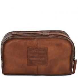Shoreditch Rust Mens Leather Wash Bag