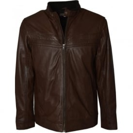 Sonic Mens Brown Leather Jacket