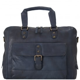 Spitalfields Medium Leather Vintage Two Section Laptop Bag