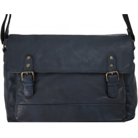 Spitalfields Mens Medium Leather Messenger Bag With Laptop Sleeve