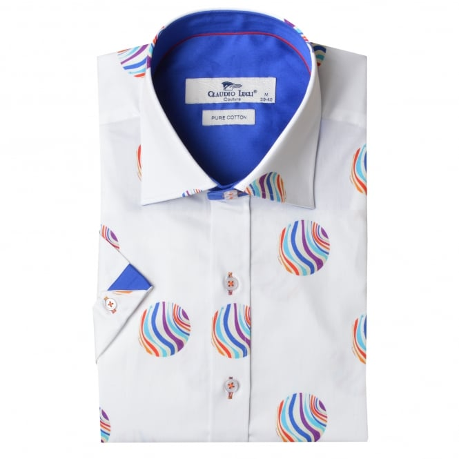 Claudio Lugli Beach Ball Print Short Sleeve Mens Shirt