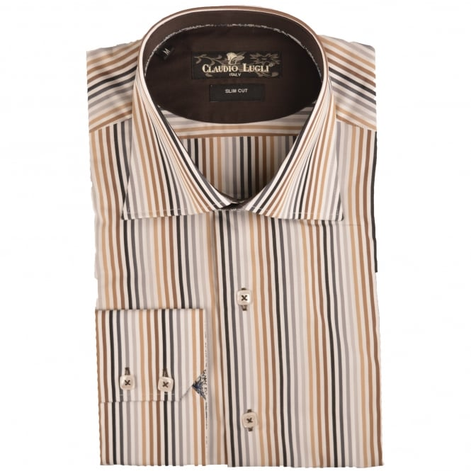 Claudio Lugli Beige Mens Striped Shirt