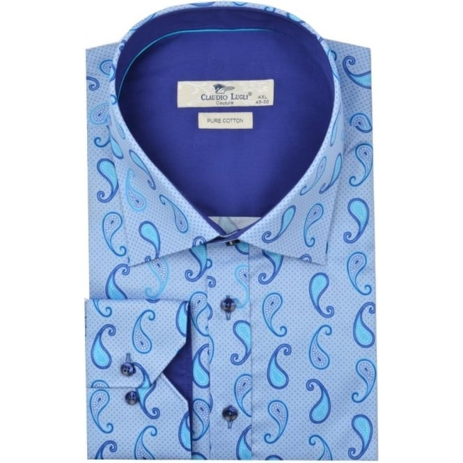 Claudio Lugli Big & Tall Blue Paisley Pattern Mens Shirt Available in 4XL