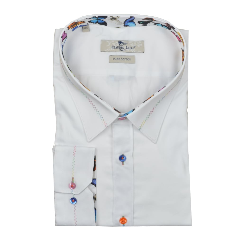 6ca64e357749d7 Claudio Lugli Big   Tall Butterfly Trim Stitch Collar Mens Shirt in 5XL