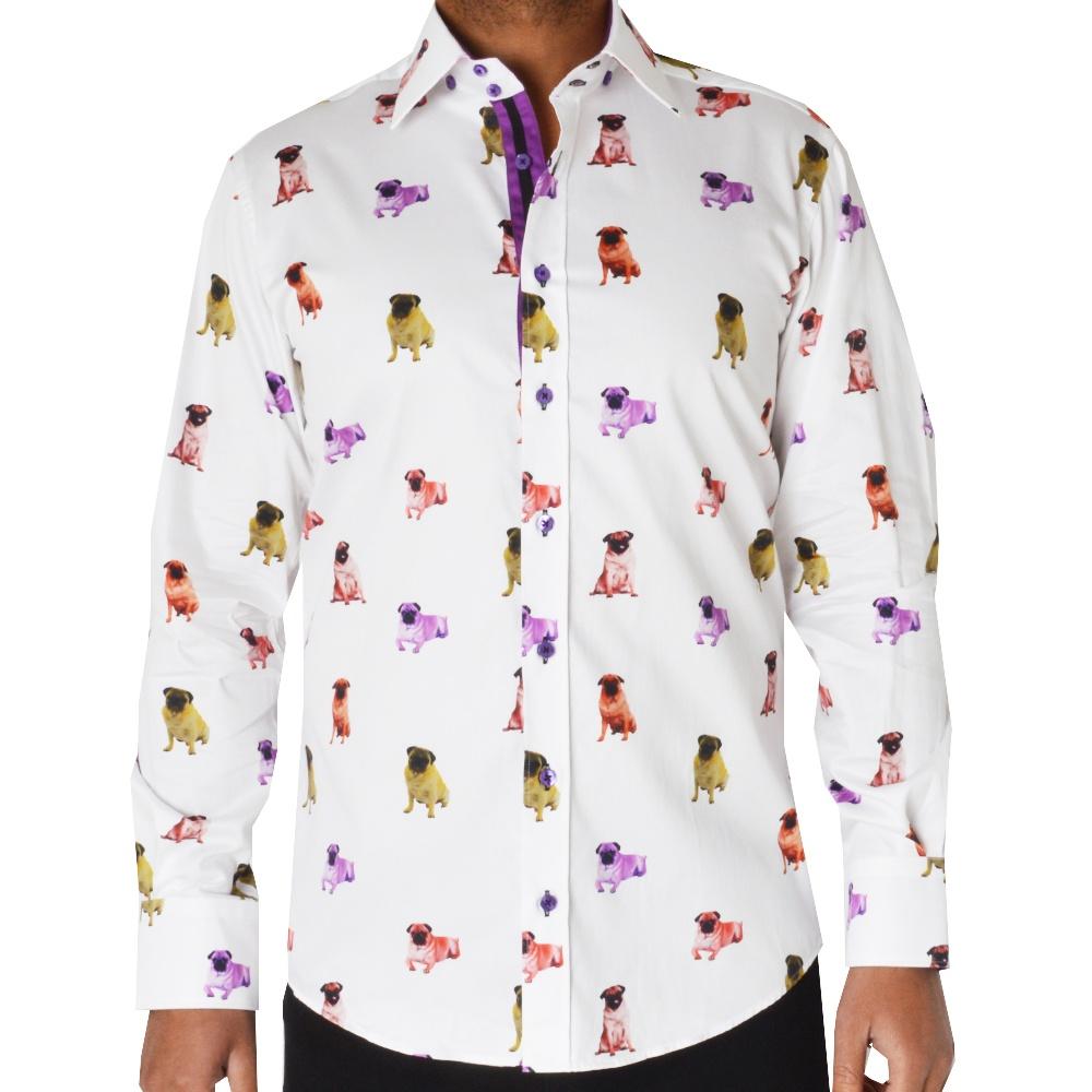 Claudio lugli pug dog print big tall shirts cp6066 the for Men s big tall shirts