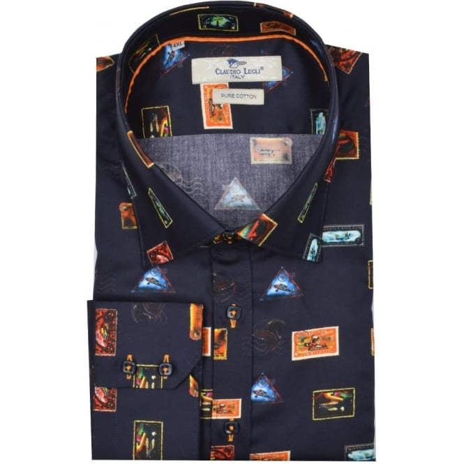Claudio Lugli Big & Tall Stamp Print Mens Shirt Available in 4XL to 5XL