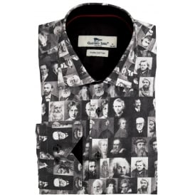 Black and White Famous Icons Print Mens Shirt