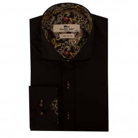 Black Paisley Trim Mens Shirt