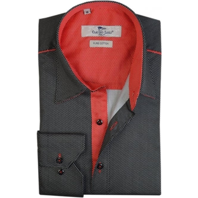 Claudio Lugli Black Pin Dot Mens Shirt