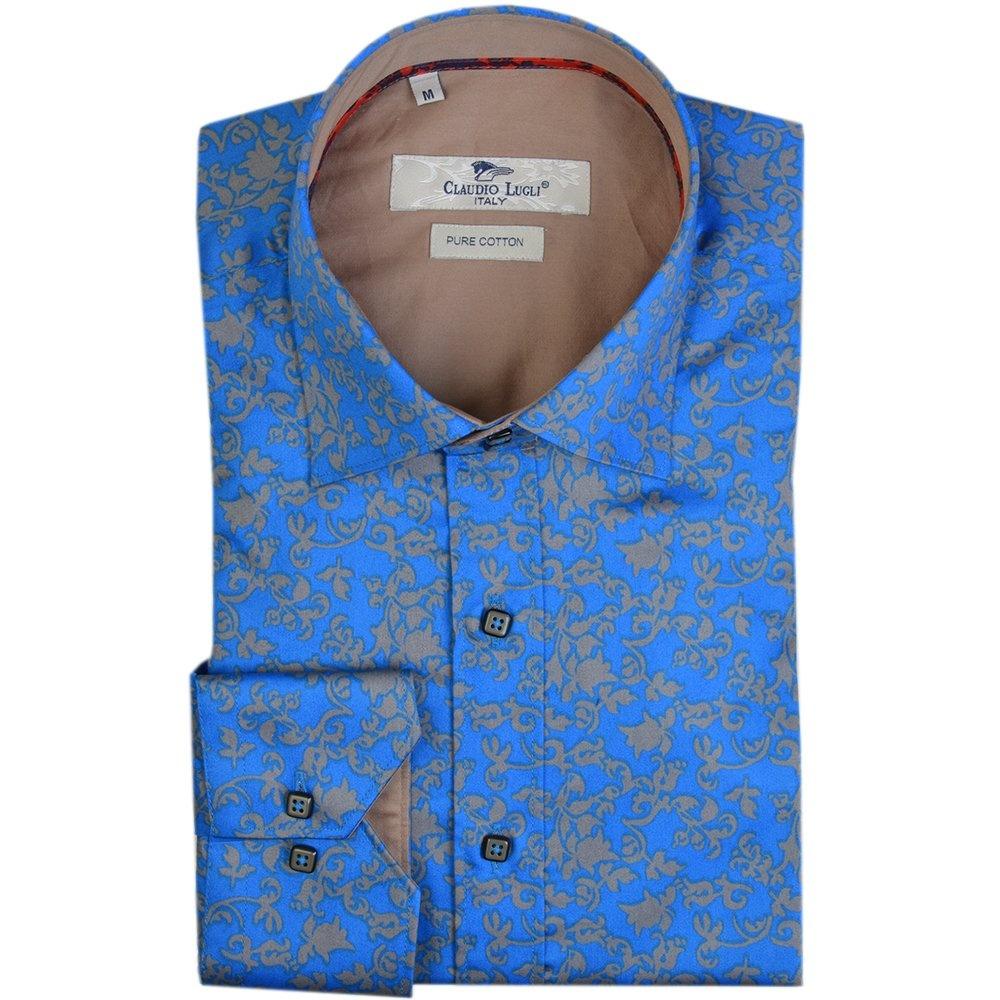 c20c6562b73b6 Blue Flower Print Mens Shirt