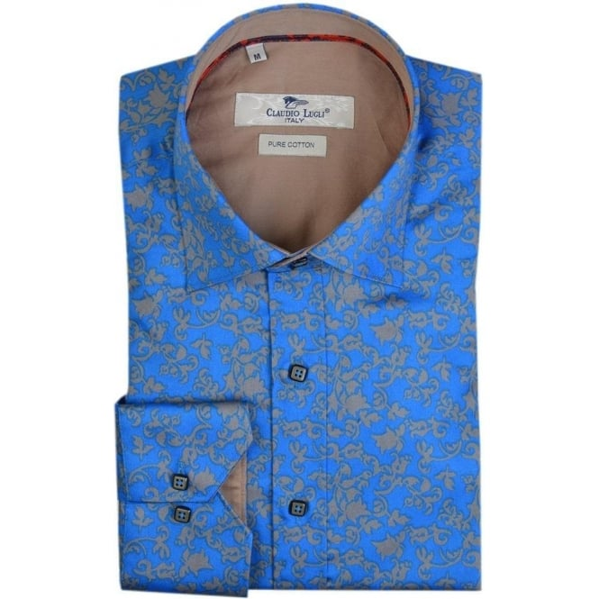 Claudio Lugli Blue Flower Print Mens Shirt
