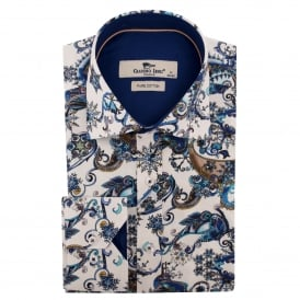 Blue Paisley Print Mens Shirt
