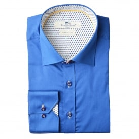 Blue Polka Dot Trim Mens Shirt