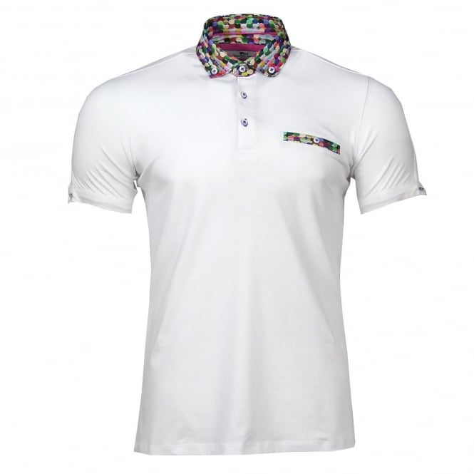 Claudio Lugli Bubble Print Collar Pique Polo Mens T-Shirt