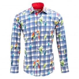 Check and Parrot Print Mens Shirt
