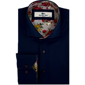 Classic Rose Trim Print Mens Shirt