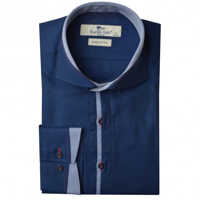 Claudio Lugli Cutaway Trim Collar Twill Mens Shirt