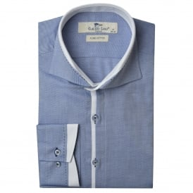Cutaway Trim Collar Twill Mens Shirt