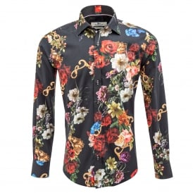Dark Rose Print Mens Shirt