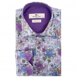 Deep Purple Rose Print Men's Shirt