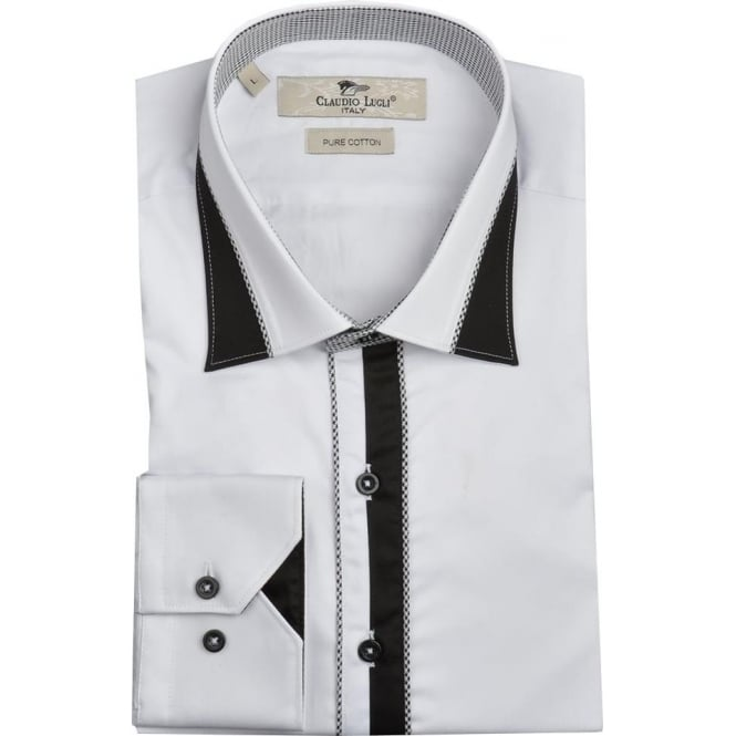 Claudio Lugli Dog Tooth Trim Mens Shirt