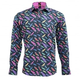Feather Print Mens Shirt