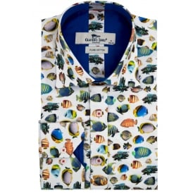 Buy claudio lugli online mens claudio lugli shirts for Fish print shirt