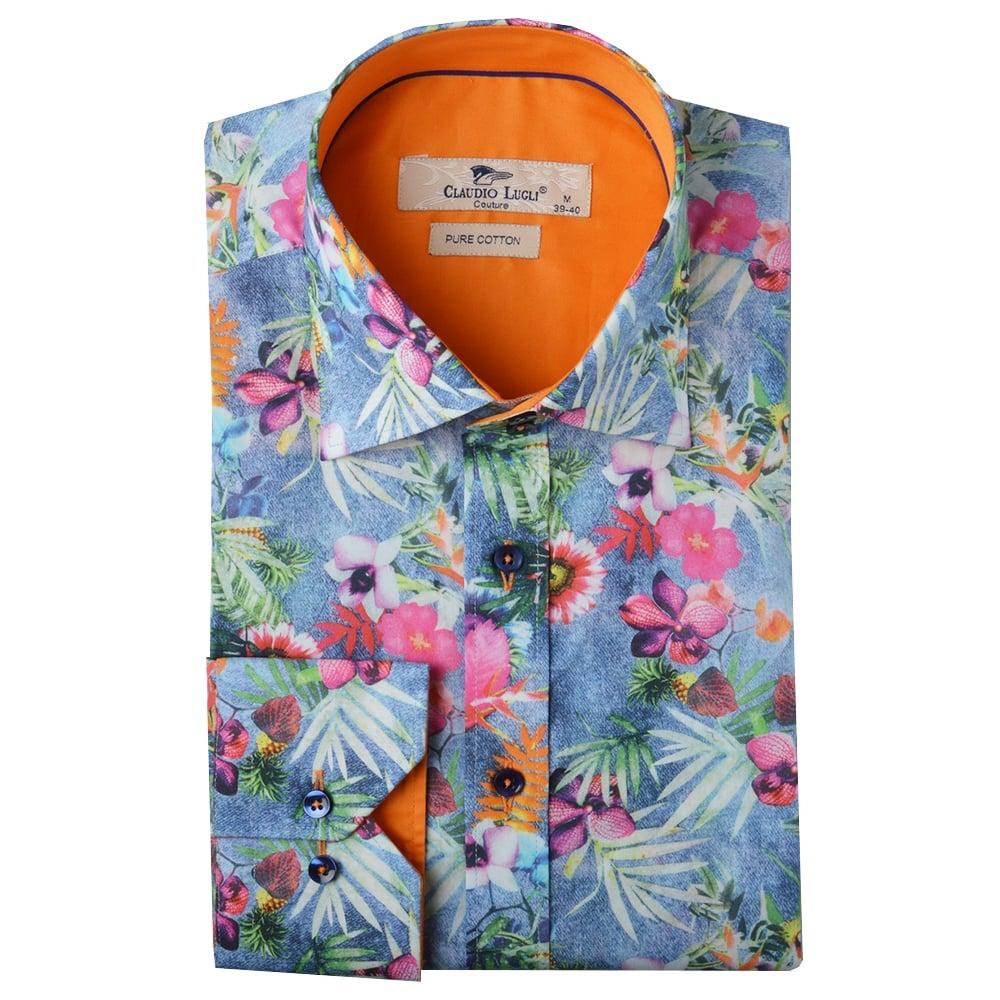 Claudio lugli mens shirts cp6124 floral shirts the for Flower print mens shirt