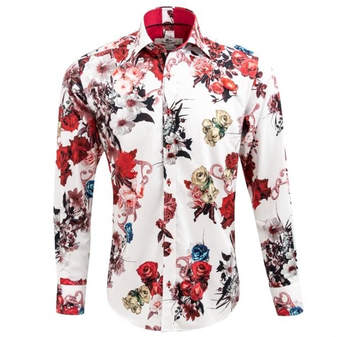 Claudio Lugli Floral Rose Print Mens Shirt Cp6351 The