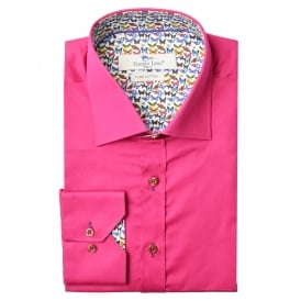 Fushia Butterfly Trim Mens Shirt
