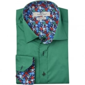 Green Summer Flower Trim Mens Shirt
