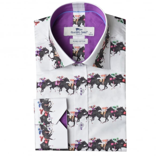 Claudio Lugli Horse Racing Print Mens Shirt